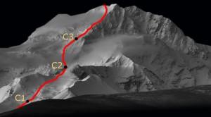 Aufstiegsroute Shisha Pangma